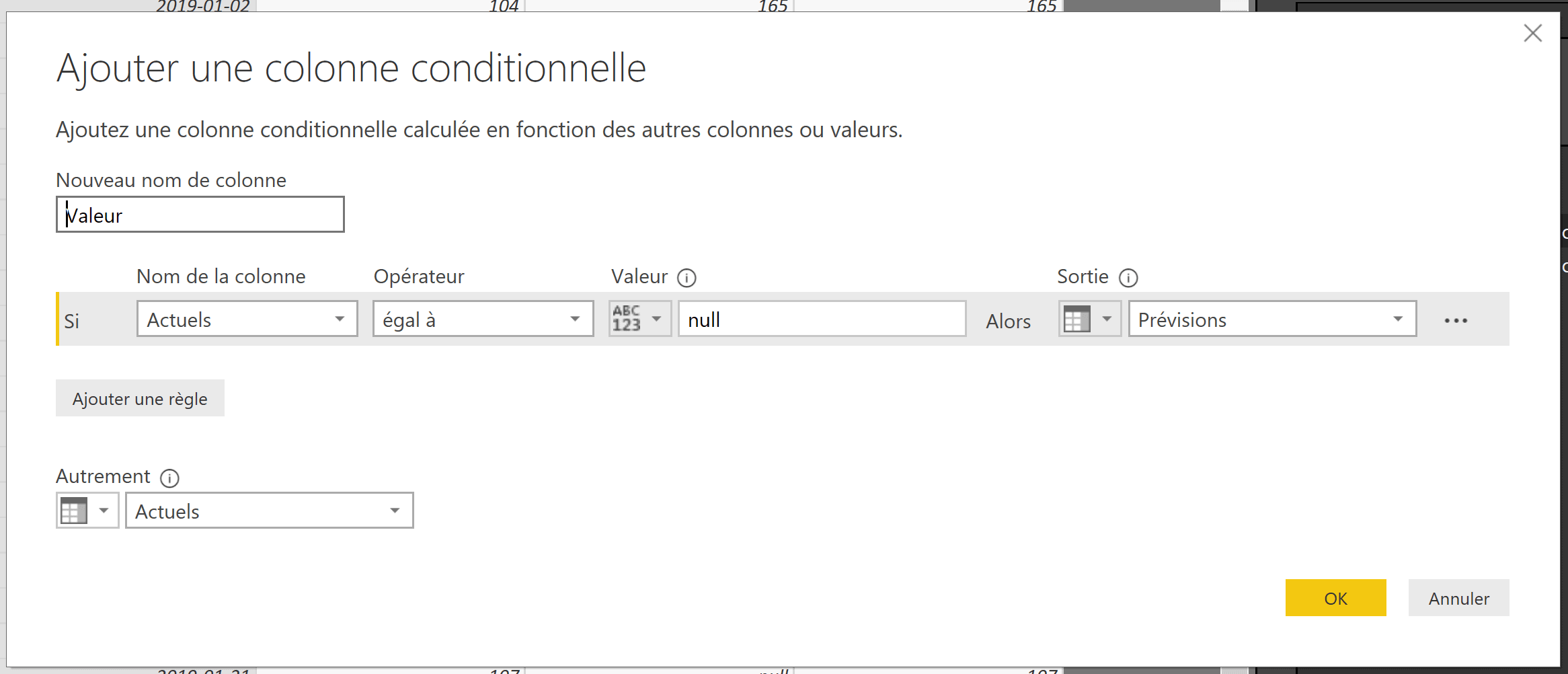 Power BI colonne conditionnelle