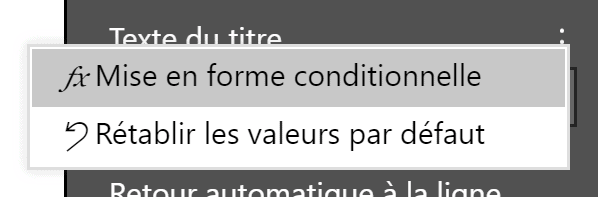 Titre options de mise en forme conditionnelle