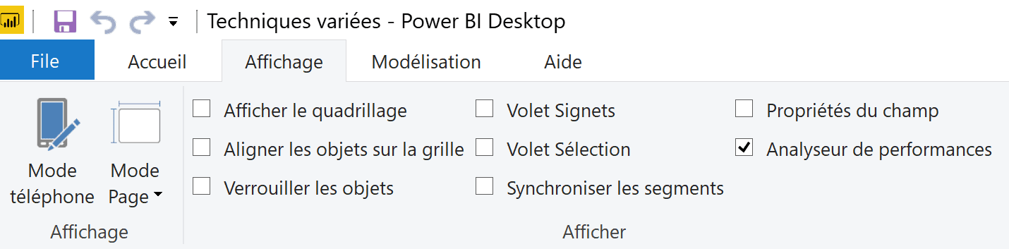 Power BI Affichage analyse performance