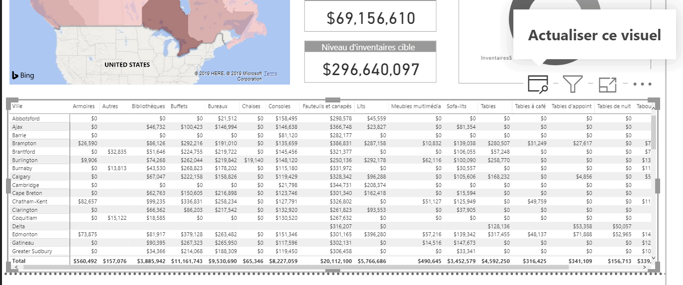 Power BI actualiser un seul visuel