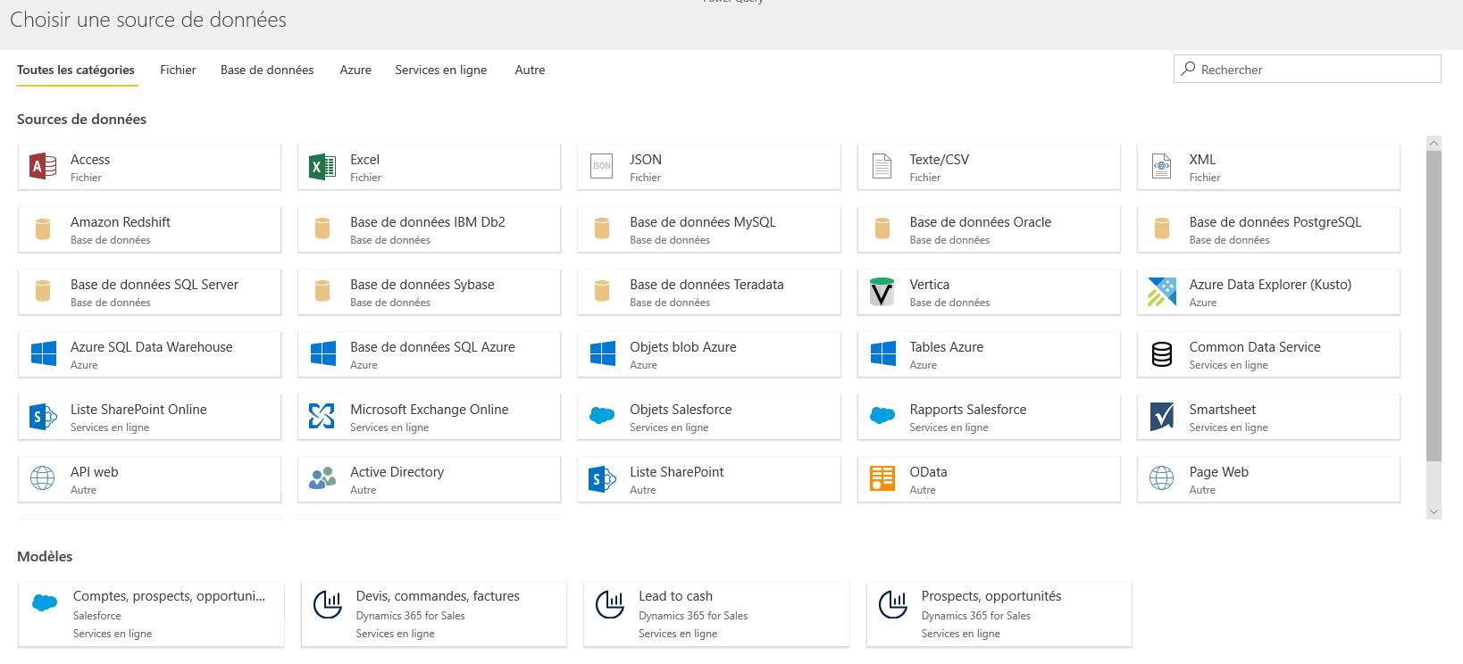Choisir une source de données Dataflows