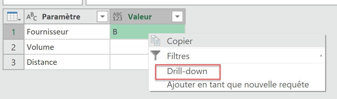 Drill-down sur paramètres