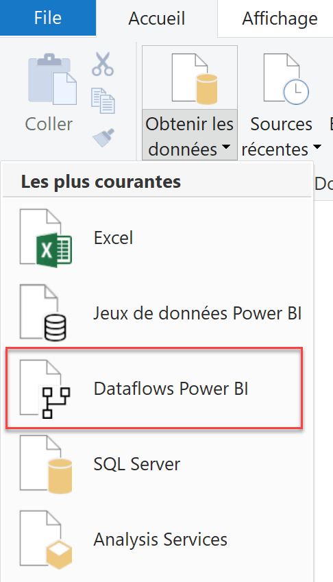 Importation dataflows depuis desktop