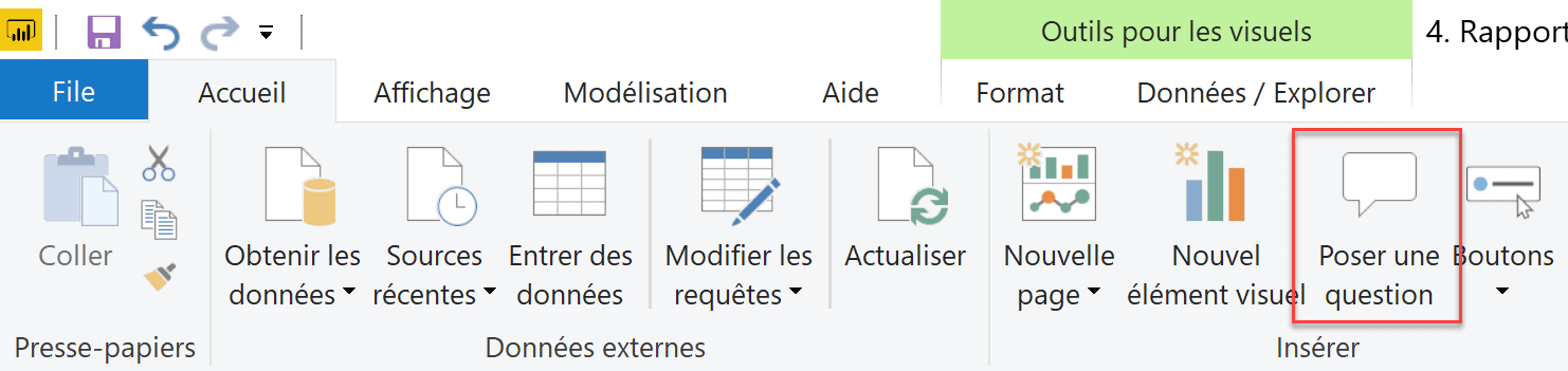 Poser une question Power BI Desktop option 2