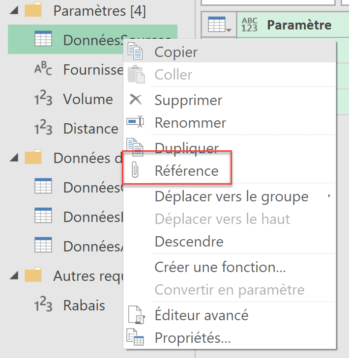 Référence Power Query