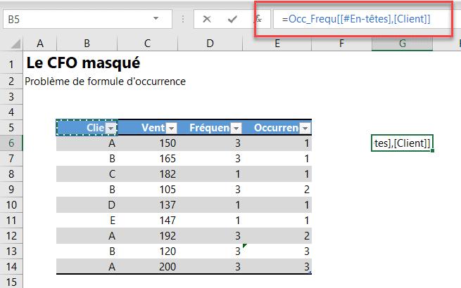 Erreurs de formules - En-tête tableaux