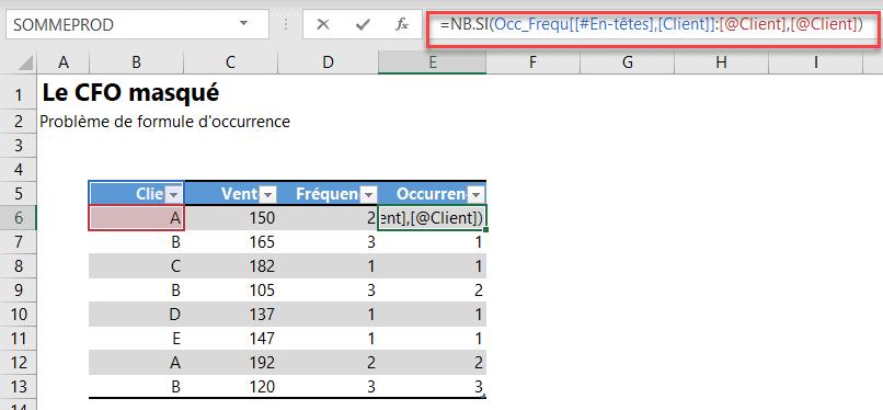 Erreurs de formules - Formule occurence tableau