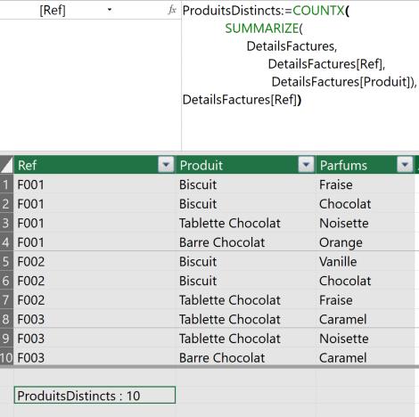 Mesure DAX CountX Summarize