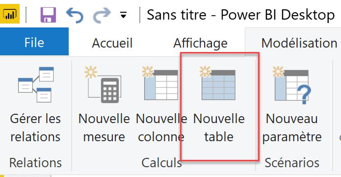 Nouvelle table Power BI