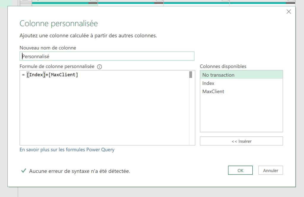 Colonne personnalisé ajout index et max