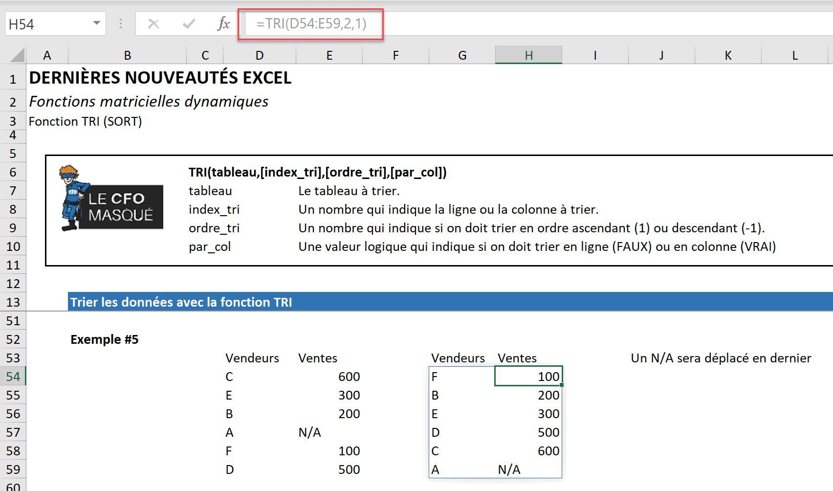 Fonction matricielle dynamique TRI