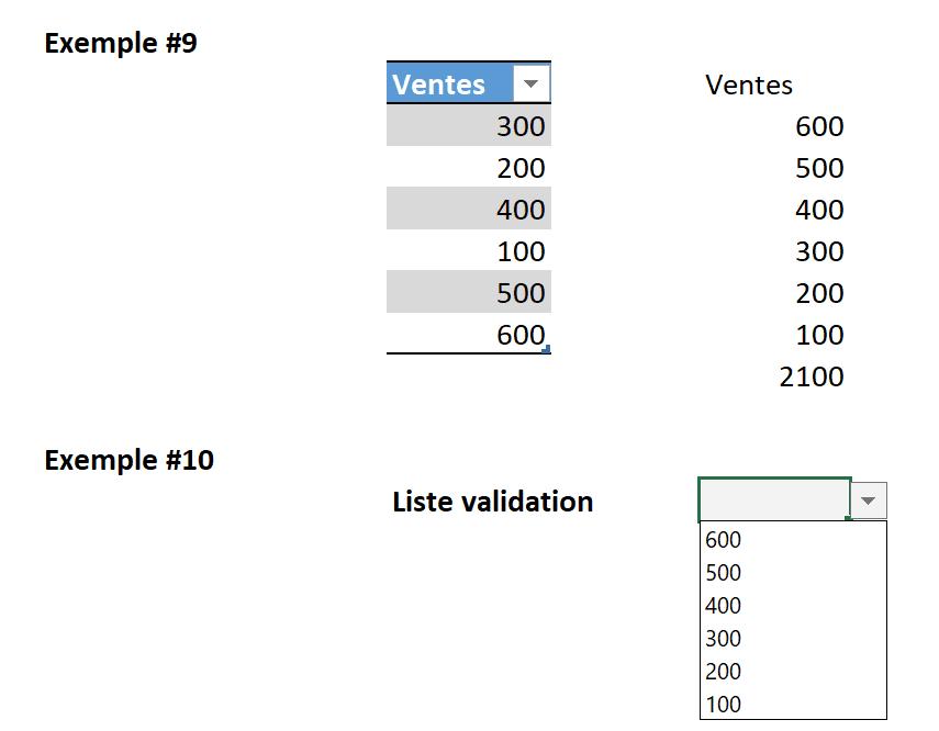 Liste validation à partir de fonction TRI