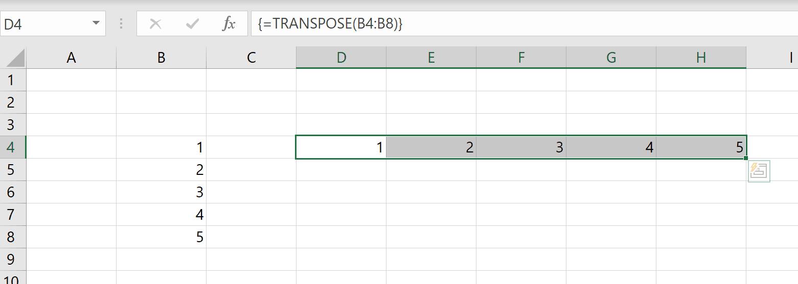 Fonction TRANSPOSE