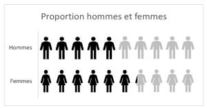 Femmes et hommes infographie Excel