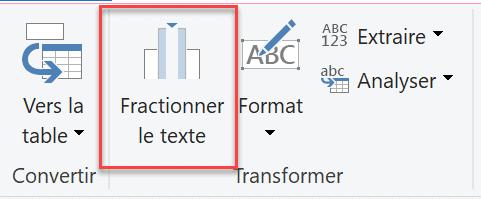 Fractionner le texte