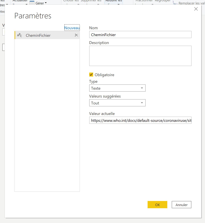 Paramètres chemin fichier