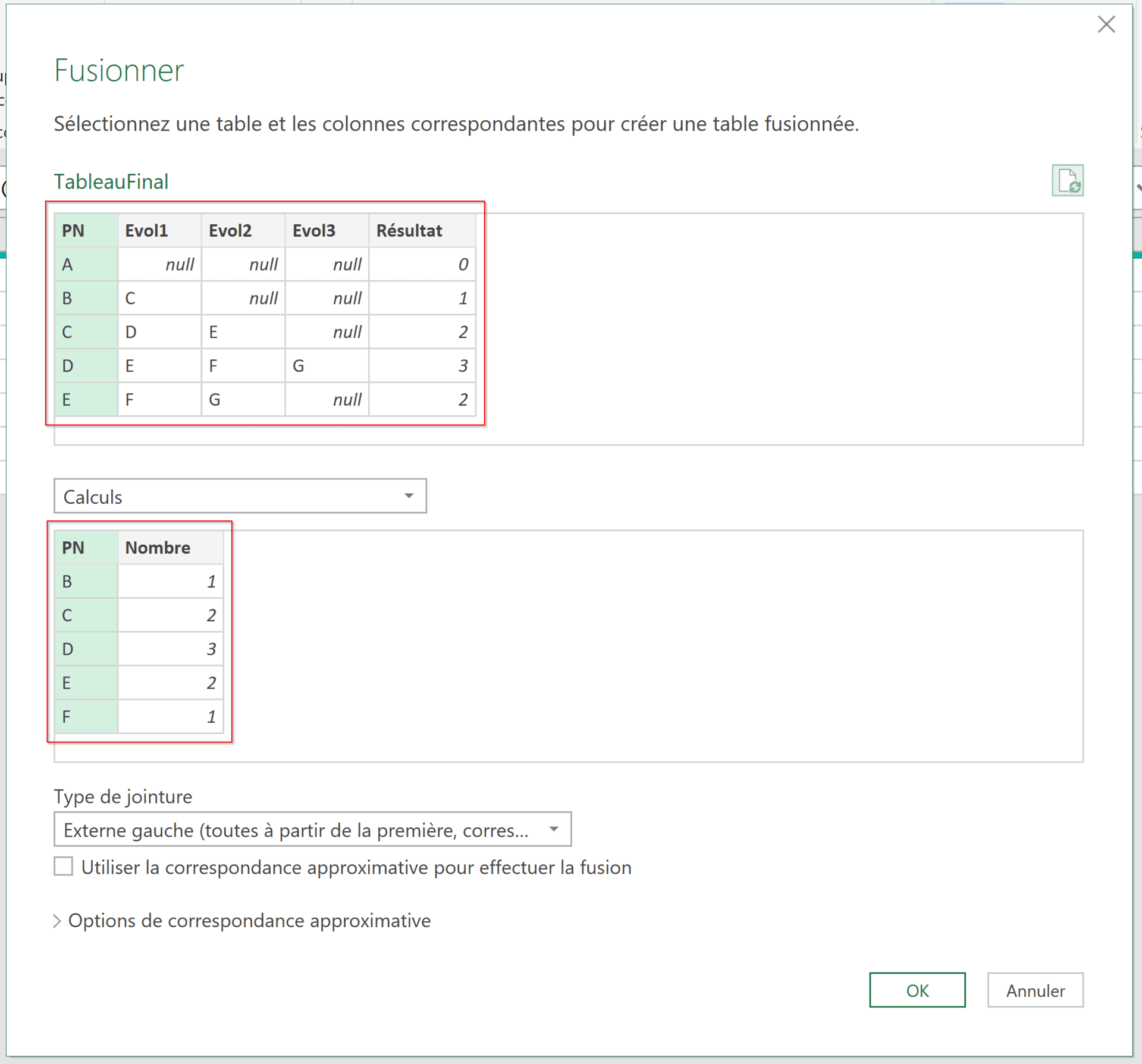 Tables fusion Power Query