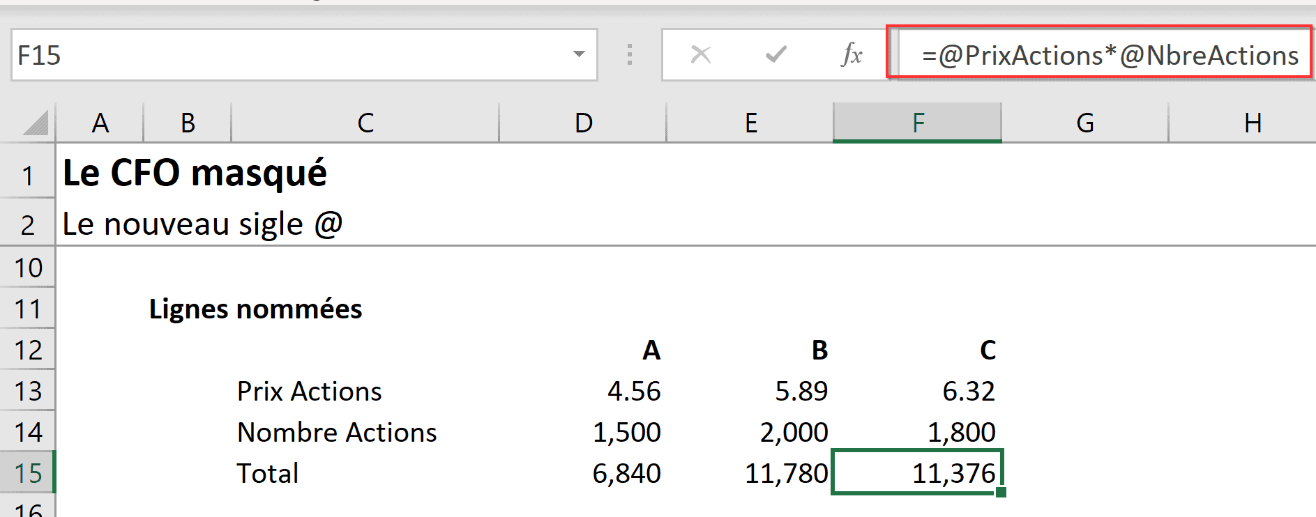 Intersection implicite Excel