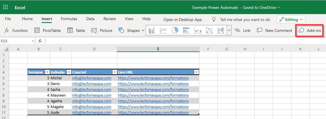 Table dans Excel Online