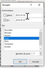 Excel Grouper et Dissocier - Champs dates - Jours