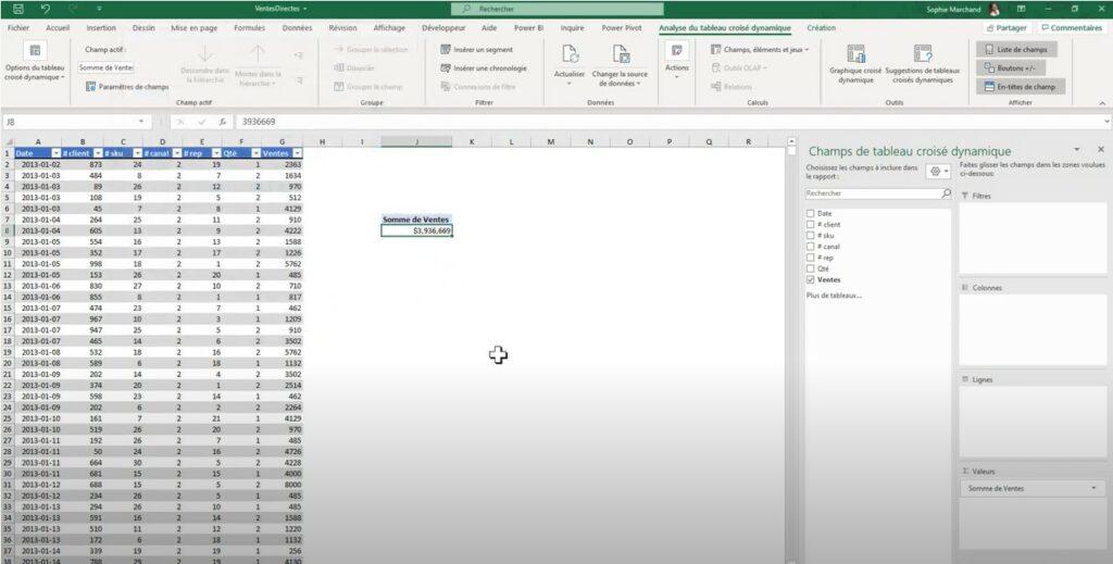 Excel Grouper et Dissocier - Données ventes