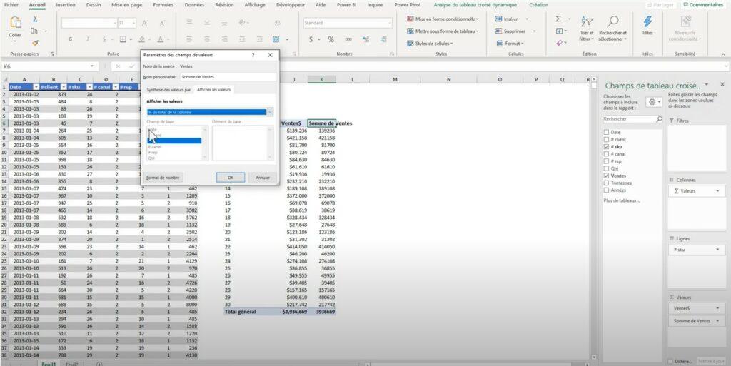 Tableaux croisés dynamiques - Affichage des valeurs - Ajout colonne