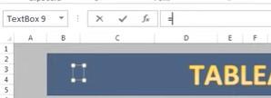 Excel Zones de texte - Insérer le symbole =