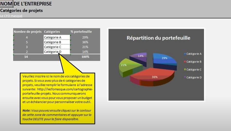 Outil Excel - Cartographie d'un portefeuille de projets - Catégories
