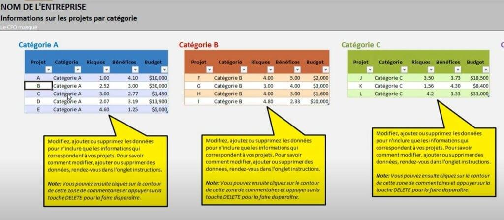 Outil Excel - Cartographie d'un portefeuille de projets - Projets