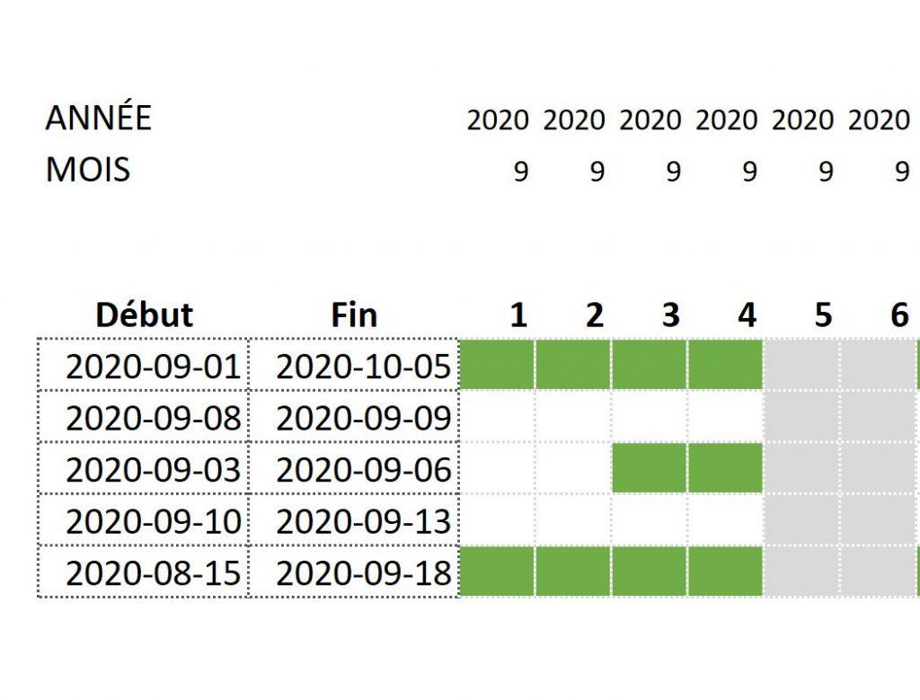 Calendrier avec mise en forme conditionnelle dans Excel