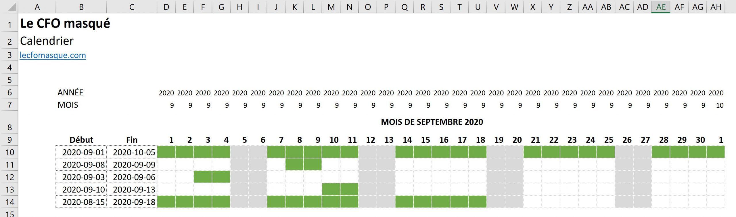 Construire un calendrier d'activités dans Excel sous forme de graphique de Gantt