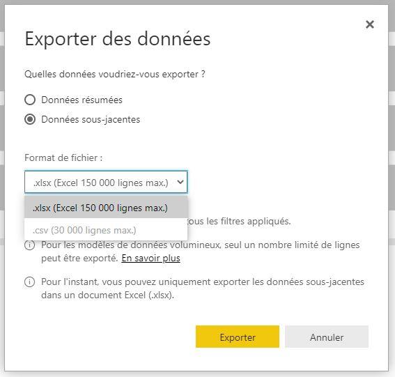 Exporter les données vers Excel