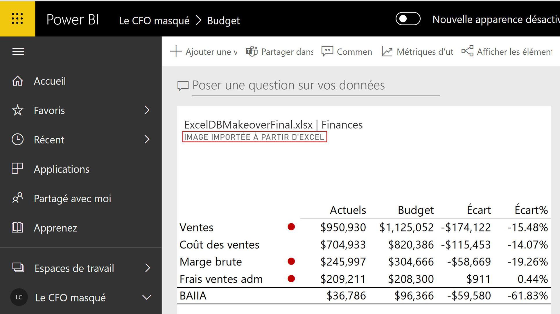 Image importée à partir d'Excel
