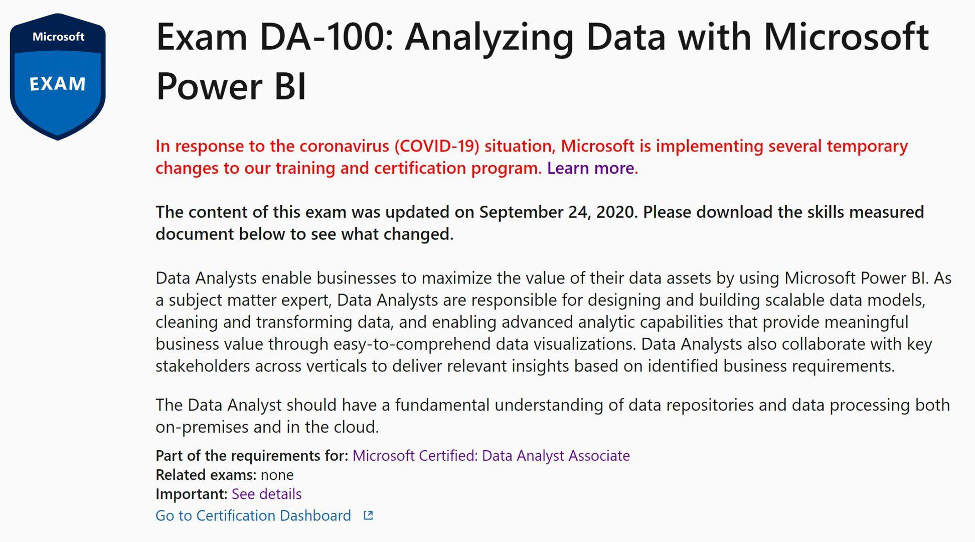 Power BI Certification Microsoft DA-100