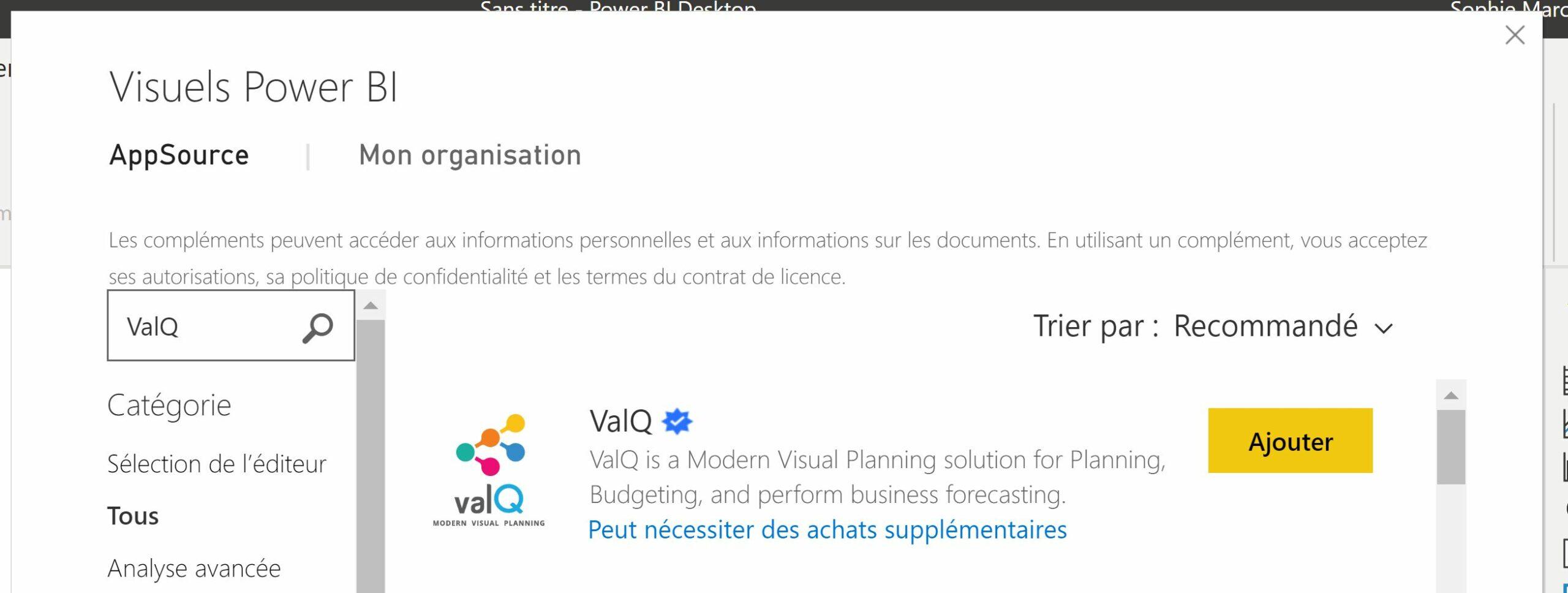 Power BI : Découvrir le visuel personnalisé ValQ