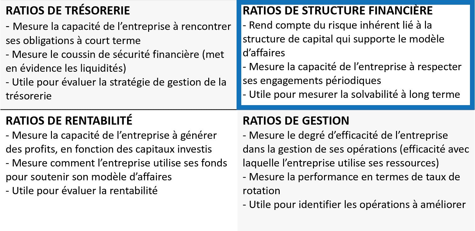 Ratios financiers - Structure financière
