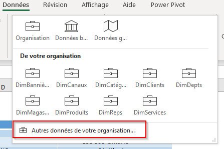 Données organisationnelles dans Excel