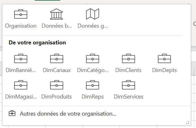 Données Excel liées organisationnelles