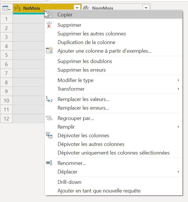 Transformations dans Power Query