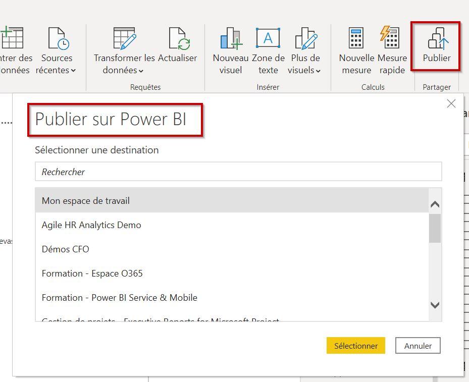 Publier un rapport sur Power BI