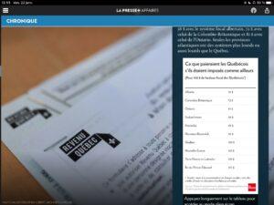 Tableau de chiffres de La Presse +