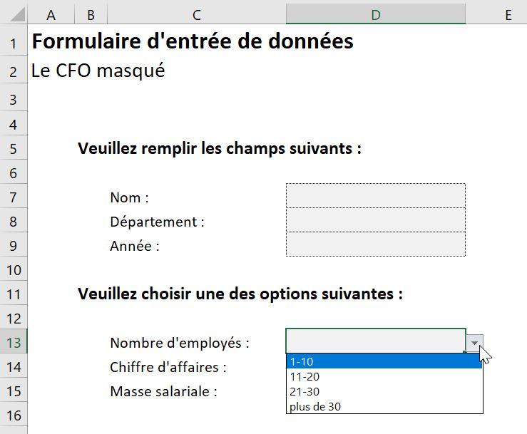 Formulaire Excel saisie