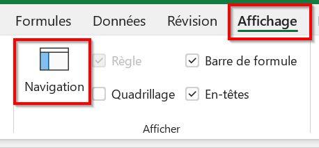 Menu Affichage Excel