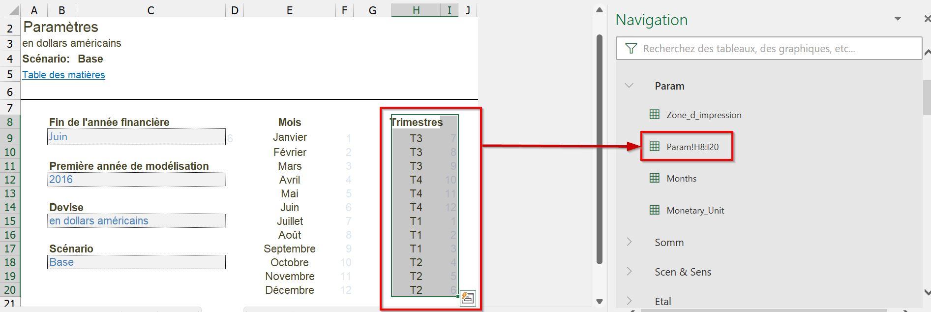 Renommer plage Excel