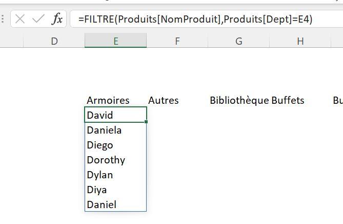 Fonction Excel FILTRE