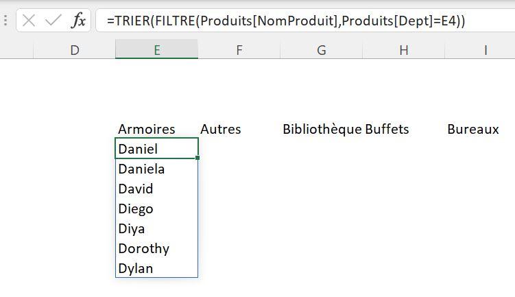 Fonction Excel TRIER