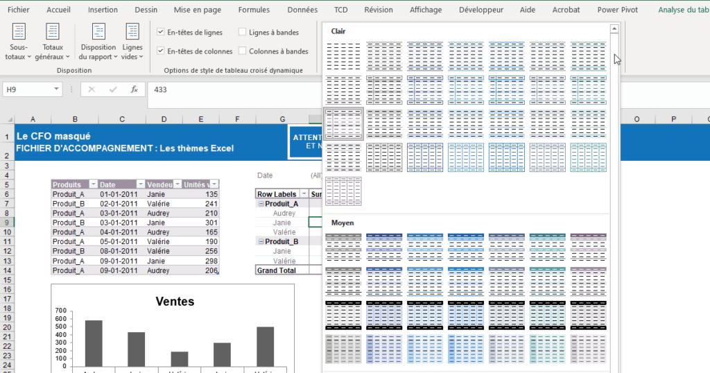 Thèmes avec Excel