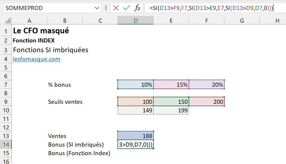 Fonction Excel SI