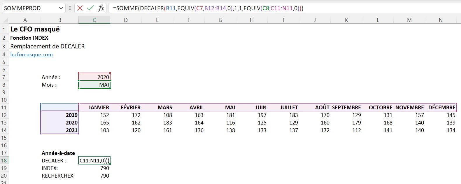 Fonction Excel Decaler