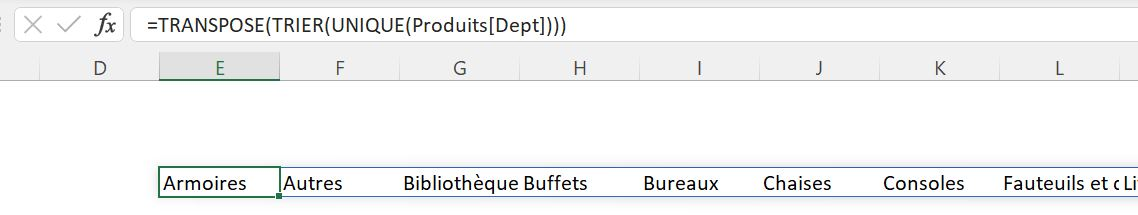 Fonction Excel TRANSPOSE